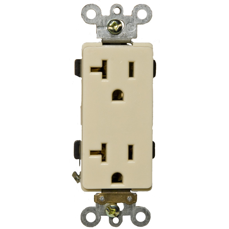 Morris Products 20A Industrial Grade Decorator Duplex Receptacle in Ivory