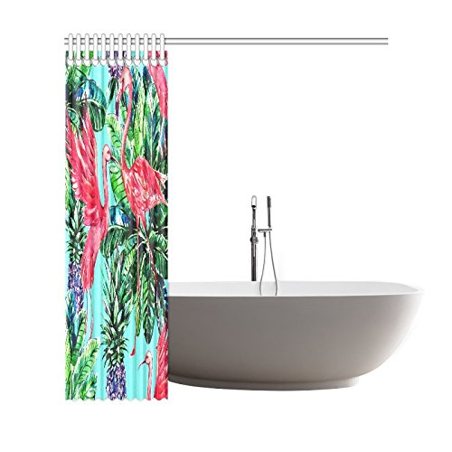 GCKG Pink Flamingo Bird Palm Leaves Shower Curtain, Tropical Fruits Pineapples Polyester Fabric Shower Curtain Bathroom Sets with Hooks 66x72 Inches - image 1 de 3