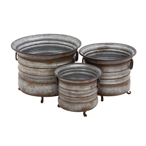 Grey Rust-like Metal Set of 3 Planters
