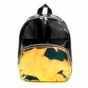 Clear Black Mini PVC Backpack with Holographic Gold Accent Front Pocket