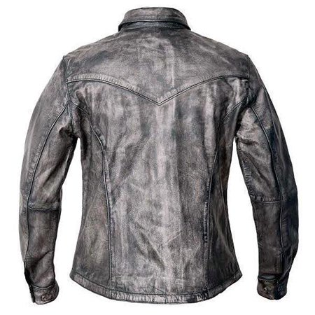 Distressed Leather Snap (Xelement Xelement BXU862055 Urban Armor 'Comfort' Women's Grey Leather Shirt with Gunmetal Snaps Distressed Grey Small)
