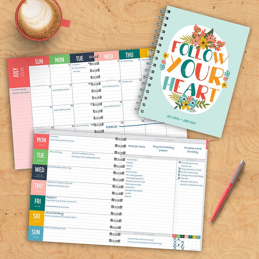 "2019 Follow Your Heart July 2018 June 2019 Academic Year 8""x6.5"" Medium Weekly Monthly Planner by TF Publishing"