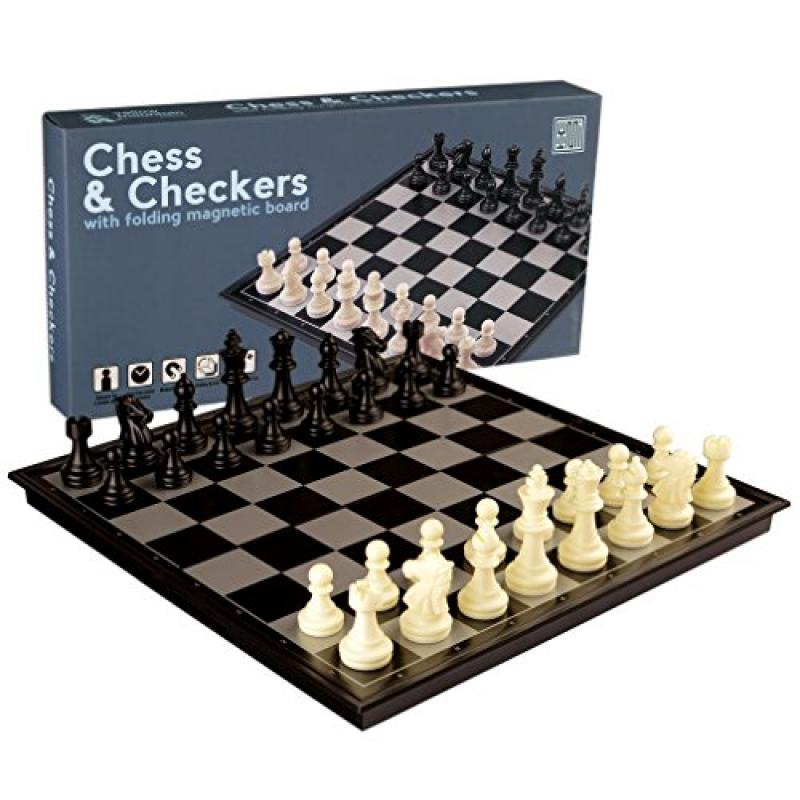 2 in 1 Travel Magnetic Chess and Checkers Game Set - 12.5...