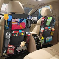 Peroptimist Car Back Seat Organizer with Insulated Thermal Pocket, Tablet Holder - Touch Screen Pocket - Use as Backseat Organizer for Kids and Toddlers, Kick Mat and Back Seat Protector