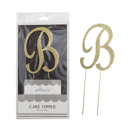 Mega Crafts - Sparkly Gold Rhinestone Letter B Cake Topper Decoration | Shimmering Gold Crystals & Durable Alloy Metal | For Birthdays, Anniversaries, Centerpieces, Party Favors, - Letter B Crafts