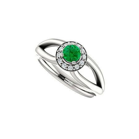 Halo Design - Emerald and CZ Open Leaf Design Split Shank Halo Ring