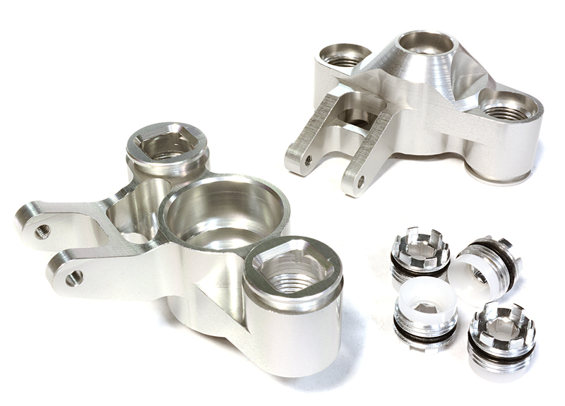 Integy RC Toy Model Hop-ups C25959SILVER Billet Machined Steering Knuckles for Traxxas 1... by Integy