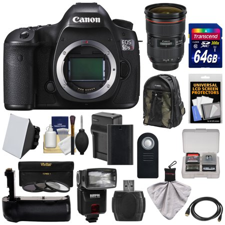 Canon EOS 5DS R Digital SLR Camera Body with 24-70mm f/2.8L Lens + 64GB Card + Battery & Charger + Backpack + Grip + Flash + Kit