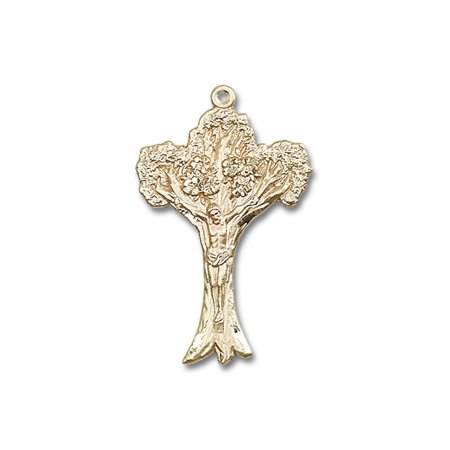 (14kt Yellow Gold Tree of Life Crucifix Medal 1 5/8 x 1 inches)