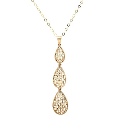 10kt Yellow Gold Triple Filigree Graduated Teardrop Pendant Necklace