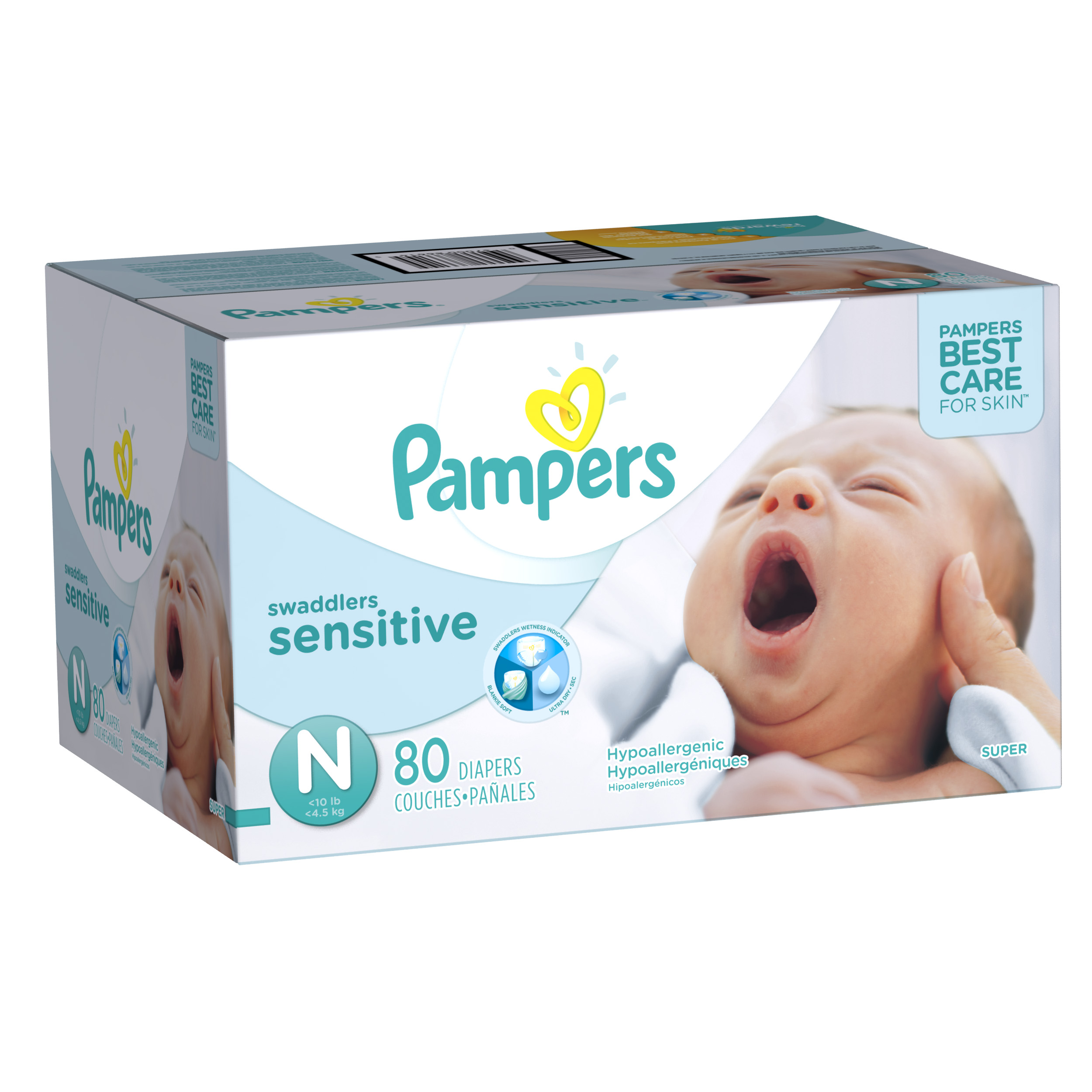Pampers Swaddlers Sensitive Diapers, Newborn, 80 Diapers