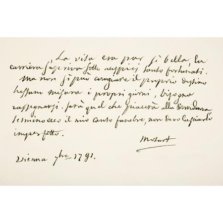 Wolfgang Amadeus Mozart 1756 - 1791 Austrian Musician And Composer Hand Writing Sample Canvas Art - Ken Welsh Design Pics (18 x 12)