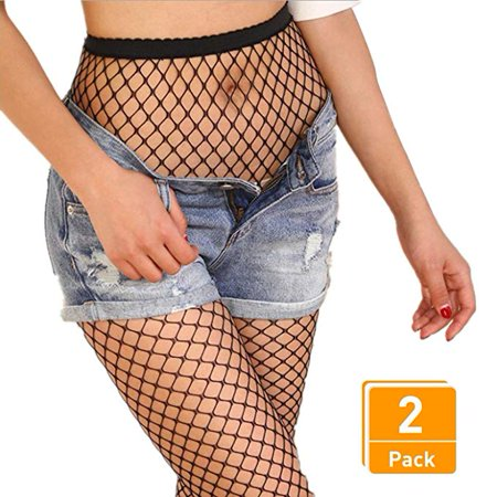 Fishnet Stockings Pantyhose Women's 2 Pair High Waist Hollow Mesh Tights Legging Hosiery, I0844 for $<!---->