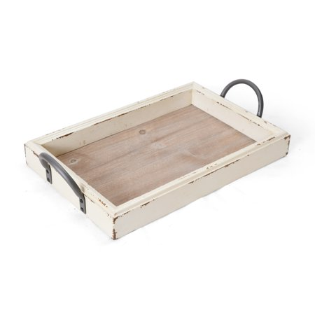 Elements 18 Inch by 10.50 Inch White Edge Wood Tray