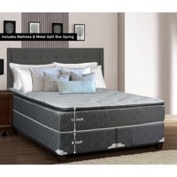 "WAYTON, 13-Inch Meduim Plush Foam Encased Hybrid Pillowtop Innerspring Mattress And Split Metal Box Spring/Foundation Set, No Assembly Required, Good For The Back, King Size 79"" x 78"""