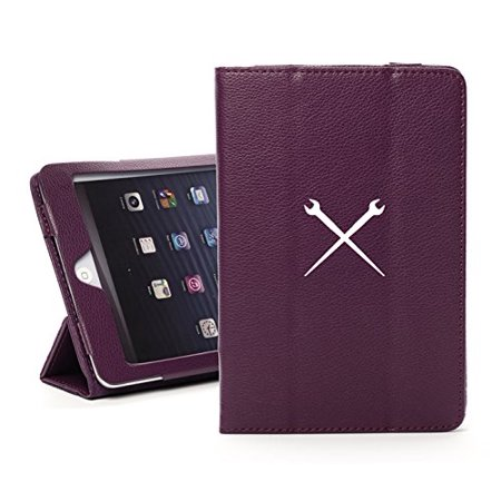 For Apple iPad Mini 1/2/3 Purple Faux Leather Magnetic Smart Case Cover Spud Wrenches Iron Worker