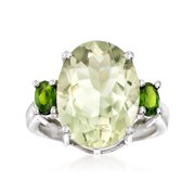 Ross-Simons 8.00 Carat Prasiolite and .40 ct. t.w. Green Chrome Diopside Ring in Sterling Silver