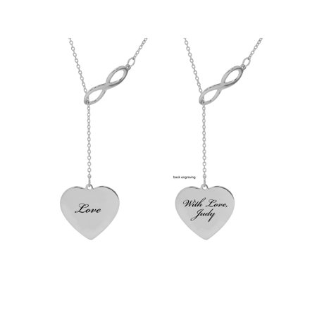 Personalized Sterling Silver, Gold Plated, 10K or 14K Forever, Love, Couple or Mom Laser Engraved Heart-Shaped Pendant With Infinity With 18 inch Link Chain Laser Engraved Pendants