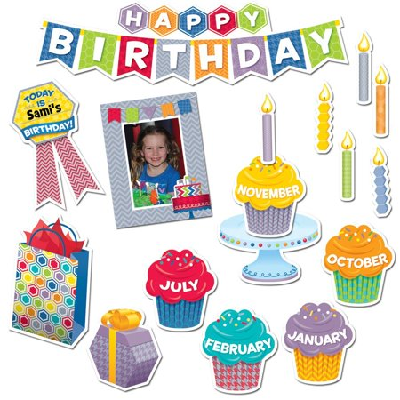 HexaFun Happy Birthday Mini Bulletin Board Set (6958), Birthday badge, photo frame, and present pieces make the day extra special By Creative Teaching Press