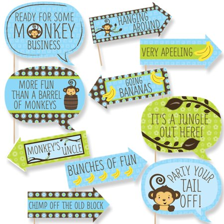 Funny Blue Monkey Boy - Baby Shower or Birthday Party Photo Booth Props Kit - 10 Piece - Monkey Baby Shower Ideas