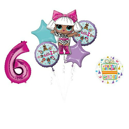 LOL Party Supplies 6th Birthday Balloon Bouquet Decorations - Parisian Party Decorations