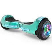 """Flash Wheel UL 2272 Certified Hoverboard 6.5"""" Bluetooth Speaker with LED Light Self Balancing Wheel Electric Scooter - Chrome Turquoise"""