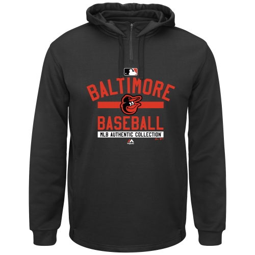 Men's Majestic Black Baltimore Orioles AC Team Property On-Field Solid Therma Base Hoodie by MAJESTIC LSG