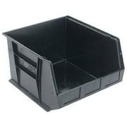 Quantum QUS270 Plastic Stacking Bin, 16-1/2 x 18 x 11 Black, Lot of 3