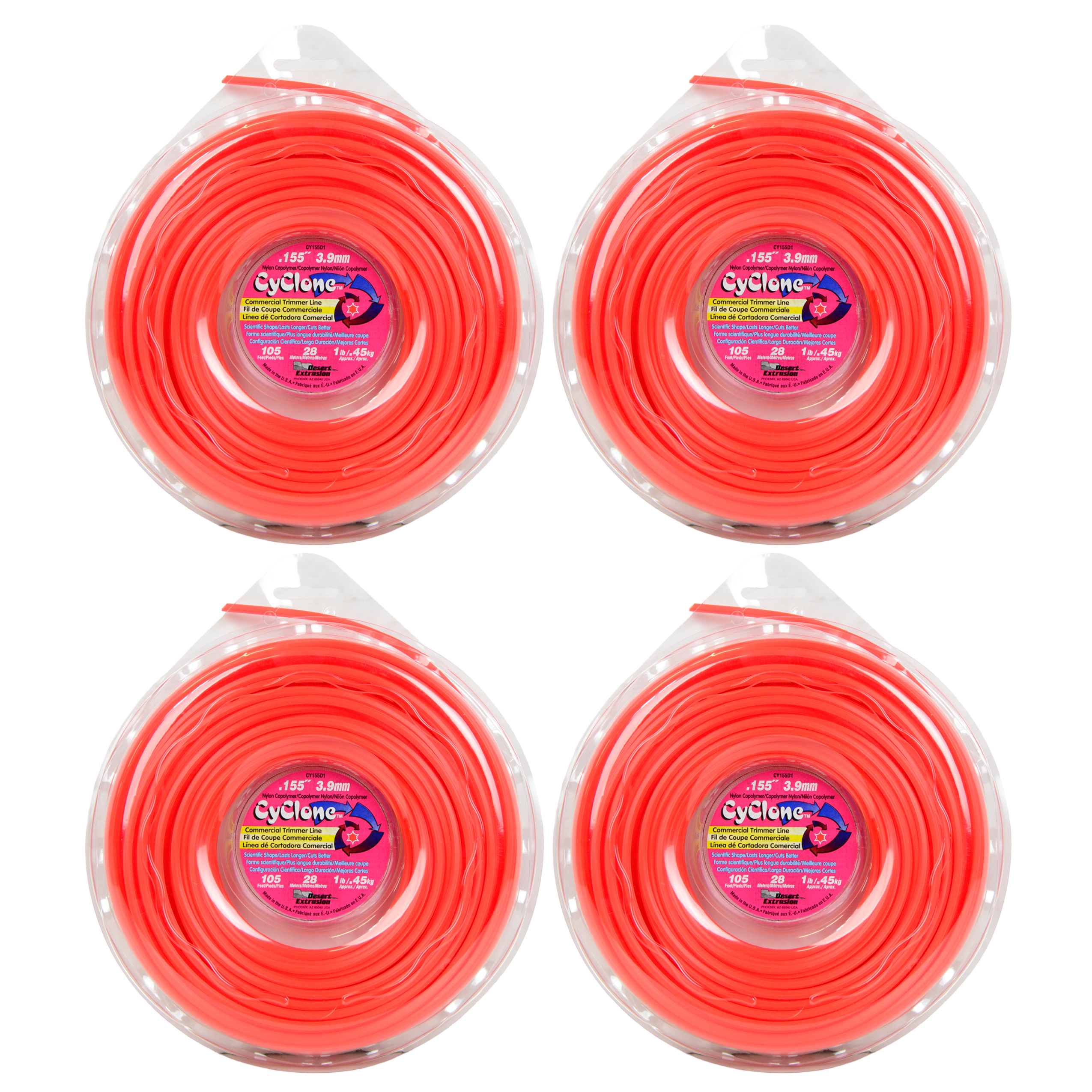 "Cyclone CY155D1 0.155"" x 155' Commercial String Trimmer Line Red (4-Pack), Made in the USA"