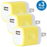 Universal USB Wall Charger Power Adapter Plug 1A 5V Travel Charger USB Charging Brick AC Power Adapter For Phone 6 / 7 / 8 / X / Xs / Xs Max / 11 / 11 Pro Max, Galaxy S8/S9/S10, LG, Google [3-PACK]