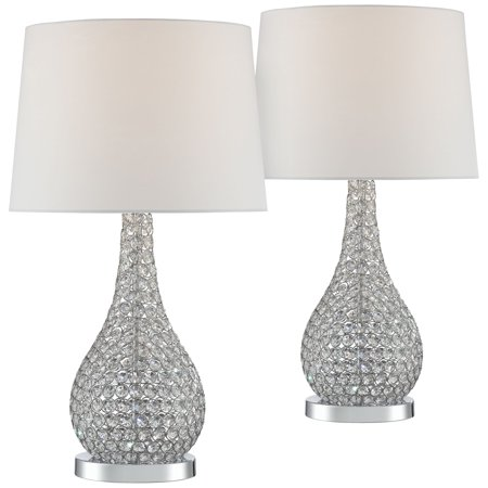 Possini Euro Design Modern Table Lamps Set Of 2 Crystal Beaded Silver Gourd White Drum Shade For Living Family Room Bedroom Office