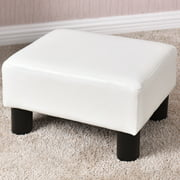 Small Ottoman Footrest PU Leather Footstool Rectangular Seat Stool White
