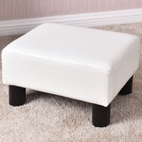 Costway Small Ottoman Footrest PU Leather Footstool Rectangular Seat Stool White