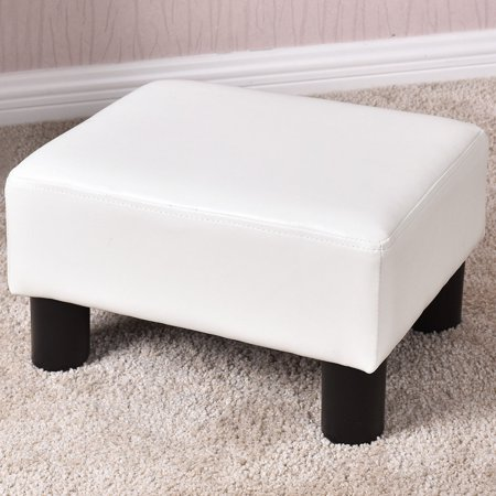 Vanity Footstool - Costway Small Ottoman Footrest PU Leather Footstool Rectangular Seat Stool White
