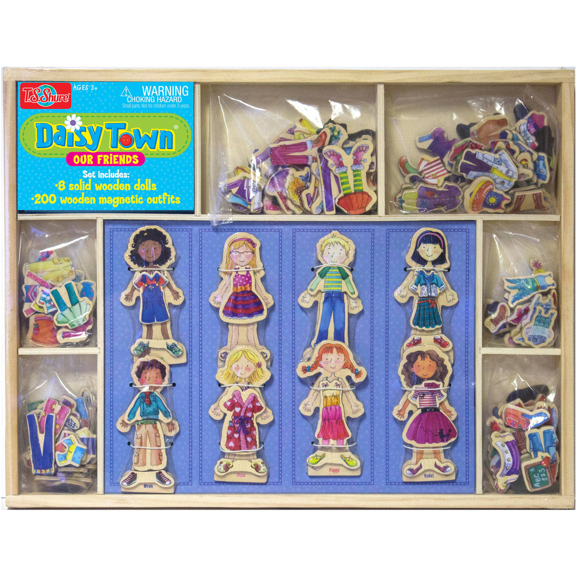 T.S. Shure Daisy Girls Our Town 8 Wooden Magnetic Dress-Up Dolls in a Wood Box