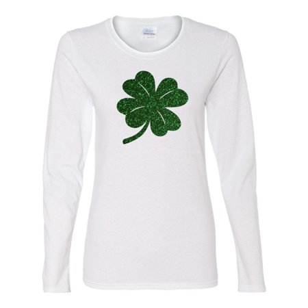 St. Patricks Day Green Glitter Lucky Clover Ladies' Long-Sleeve Shirt