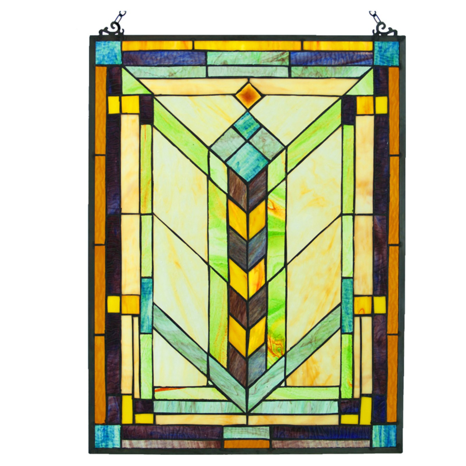 River of Goods Stained Glass Geometric Window Panel