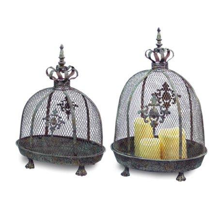 Set of 2 Renaissance Style Distressed Crown Top Dome Pillar Candle Lanterns