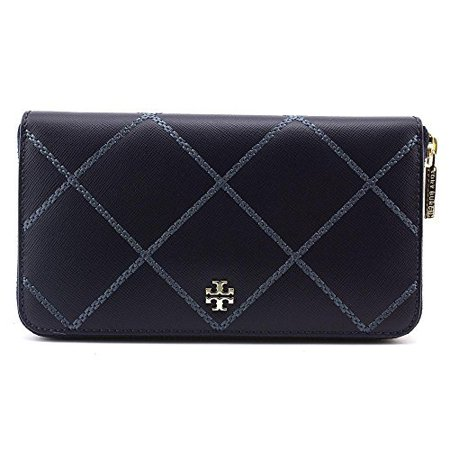 45abd85a172 Tory Burch - Tory Burch Robinson Stitched ZIP Continental Wallet Leather  Navy New - Walmart.com