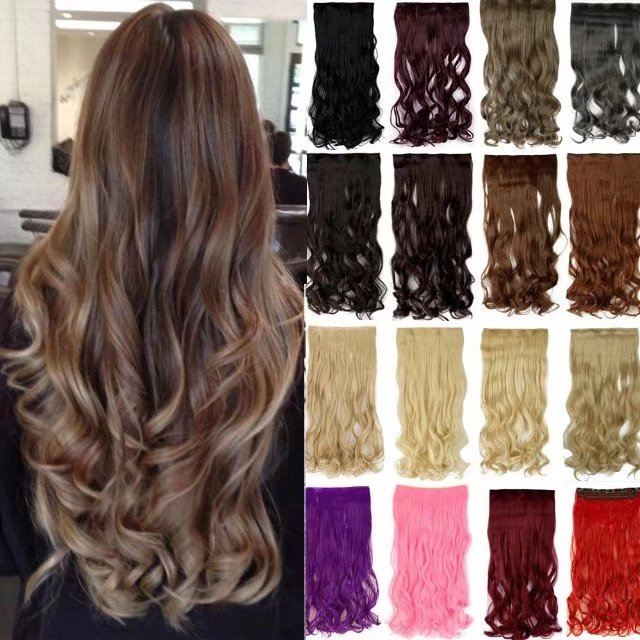 "S-noilite Clip in Hair Extensions Synthetic Hairpieces 3/4 Full Head Curly Heat-Resisting One Piece 5 Clips 27""(12#-Light Brown)"