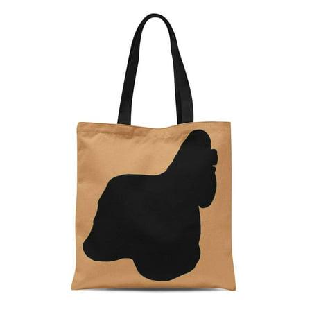 ASHLEIGH Canvas Tote Bag Lover for Love of Cocker Spaniel Loves Dog Silhouette Reusable Handbag Shoulder Grocery Shopping Bags