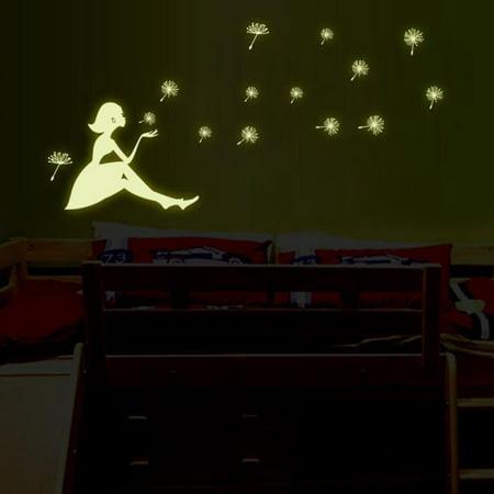 Dandelion Girl luminous Stickers Living Room Bedroom Decoration Wall Stickers