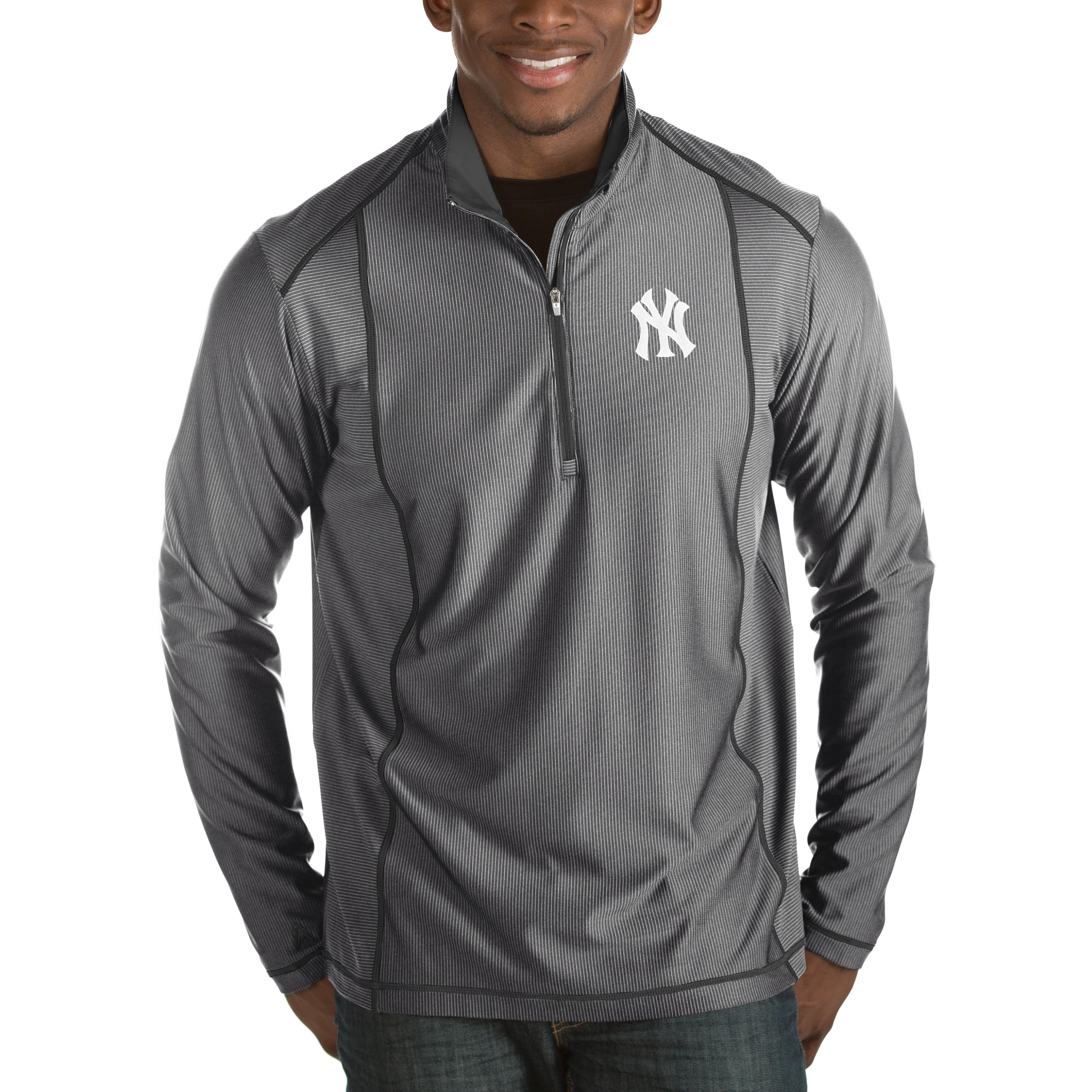 New York Yankees Antigua Tempo Half-Zip Pullover Jacket - Heathered Charcoal
