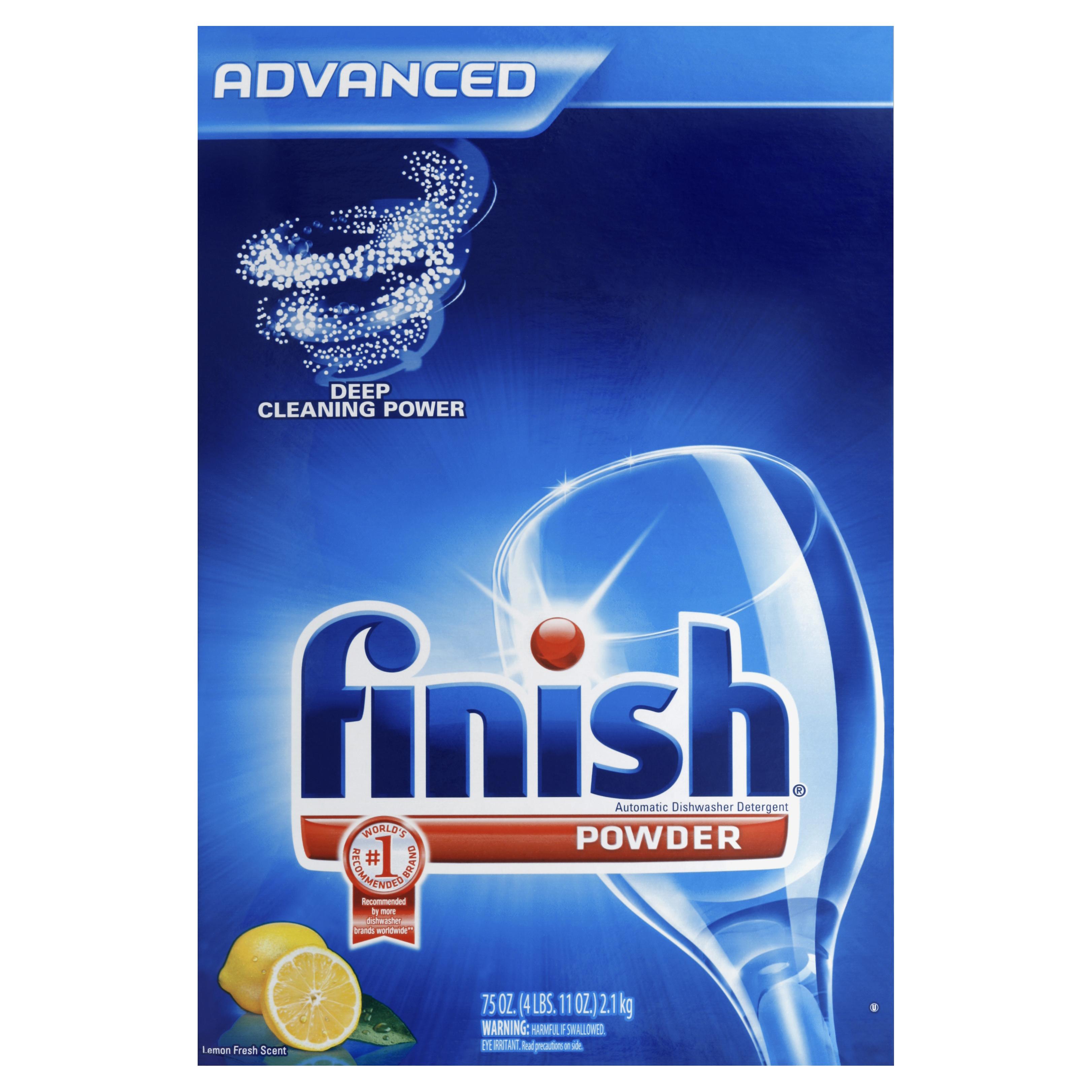 Finish Dishwasher Detergent Powder, Fresh Scent, 75oz