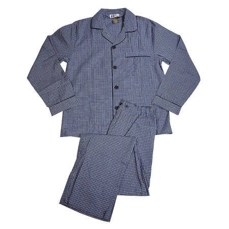 Majestic International - Mens Long Sleeve Broadcloth Pajamas BLUE / Small