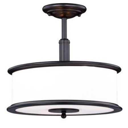 3 Light Carlisle Noble Bronze with Frosted Opal Glass Semi-Flush Mount