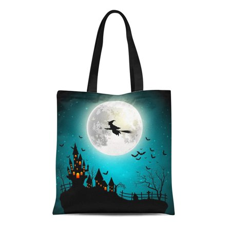 SIDONKU Canvas Tote Bag Night Halloween Flying Witch Full Moon Silhouette Cartoon House Durable Reusable Shopping Shoulder Grocery - Halloween Full Moon Cartoon