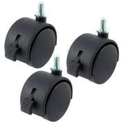 "Black Nylon 2"" Twin Wheel M8 Threaded Stem Brake Swivel Casters 3pcs"
