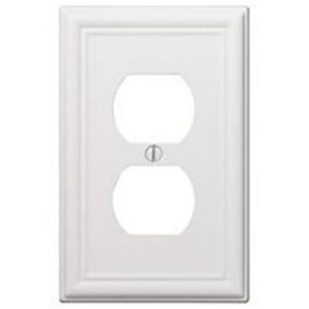 American Tack & Hardware 7231731 1 Gang Duplex Chelsea Steel Wallplate - White - image 1 de 1