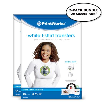 Printworks White T-Shirt Transfers for Inkjet Printers, For Use on White Fabrics Only, Photo Quality Prints, 20 Sheets, 8 ?? x 11? (00546)